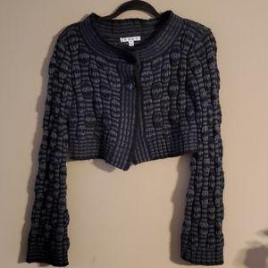 CABI #614 Gray Black Bubble Knit Bolero Cardigan S